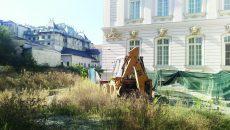 """Pe șantierul din curtea Muzeului de Artă, unde ar trebui să se construiască Centrul """"Brâncuși"""", au crescut bălăriile (FOTO: Marian Apipie)"""
