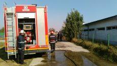 Pompierii doljeni au intervenit cu trei autospeciale pentru stingerea incediului care a cuprins una din clădirile fermei de creștere a porcilor