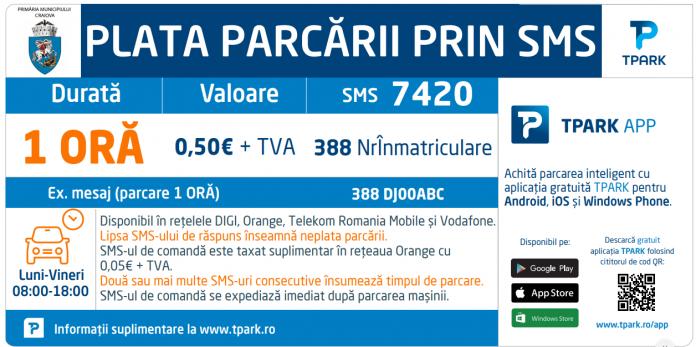 Se extinde parcarea cu plată prin SMS, în centrul Craiovei