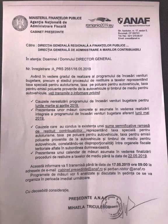 Adresa prin care fostul preşedinte al ANAF cerea în teritoriu explicaţii pentru nerealizarea programului de încasări în martie şi aprilie şi soluţii pentru încasarea veniturilor bugetare în mai