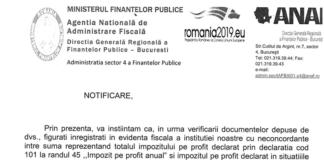 ANAF trimite notificări firmelor, fără semnătură