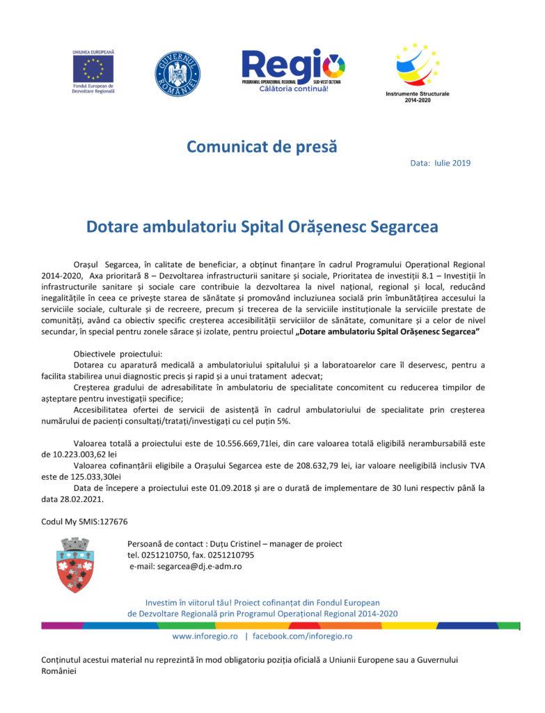 Dotare ambulatoriu Spital Orășenesc Segarcea