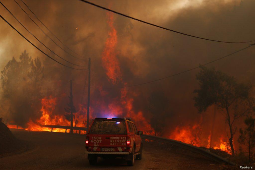 Sute de pompieri se luptă în continuă cu flăcările care ating înălţimi uriaşe