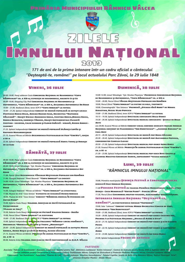 Patru zile de sărbătoare de Ziua Imnului Naţional în Vâlcea