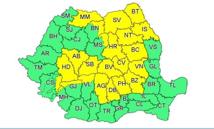 Cod galben de instabilitate în nordul judeţelor Mehedinţi, Gorj, Vâlcea