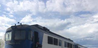 Locomotivă în flăcări, în Gara Ișalnița