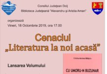 """Cenaclul """"Literatura la noi acasă"""", la Biblioteca Judeţeană"""