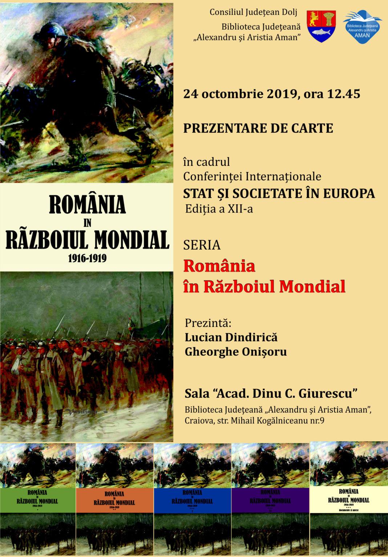 """""""România în Războiul Mondial"""", la Biblioteca Judeţeană"""