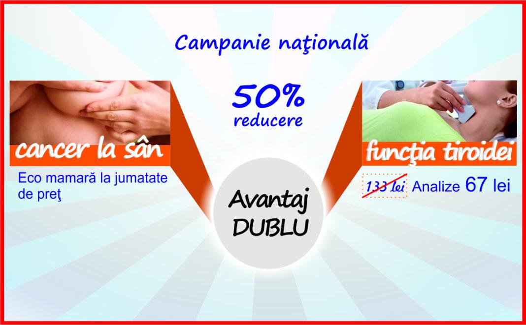 """Campanie națională """"Avantaj dublu"""" de prevenție a cancerului la sân si a bolilor de tiroidă"""