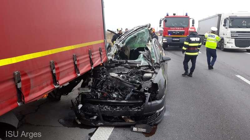 Accident pe A1 soldat cu trei răniți