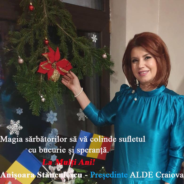 Anişoara Stănculescu - preşedinte ALDE Craiova, vă urează Sărbători cu bucurie