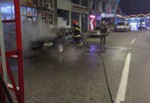 Autoturism cuprins de flăcări în Drobeta Turnu Severin