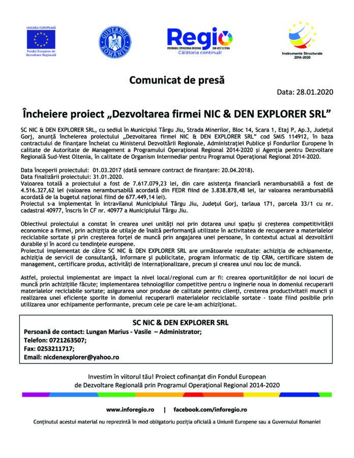 """Încheiere proiect """"Dezvoltarea firmei NIC & DEN EXPLORER SRL"""""""