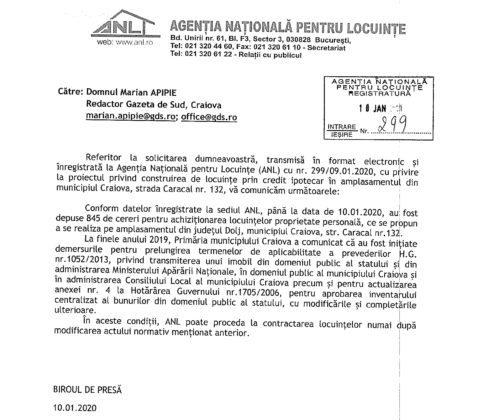 Răspunsul ANL la solicitarea GdS, transmis pe 10 ianuarie 2020