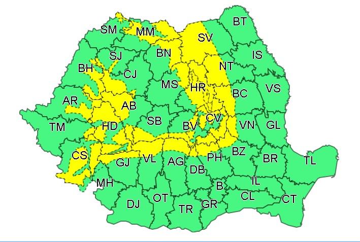 Judeţele afectate de cod galben de vreme severă