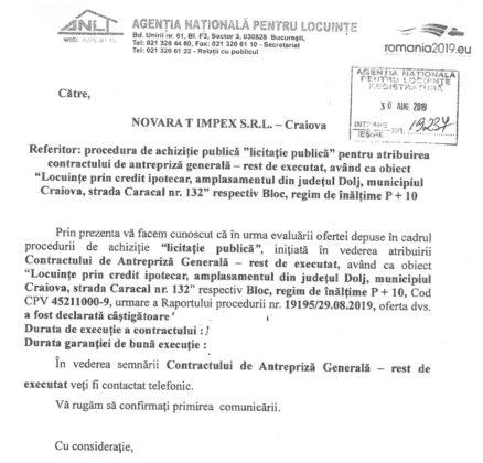 Răspunsul ANL trimis către Novara T Impex în data de 30 august 2019