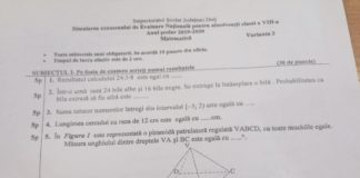 Subiectele şi soluţiile de la simularea Evaluării Naţionale la matematică