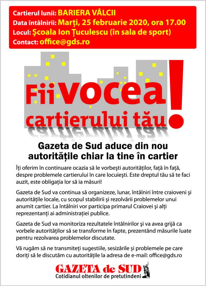 """Proiectul """"Fii vocea cartierului tău"""" ajunge în Bariera Vâlcii"""