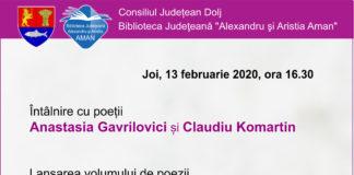Întâlnire cu poeții Anastasia Gavrilovici și Claudiu Komartin