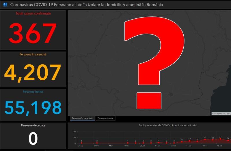 Harta cazurilor de coronavirus in Romania nu mai este accesibila publicului Foto: Hotnews