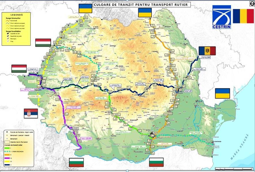 S-au decis următoarele trasee de tranzit pe teritoriul României, conform hărţii