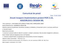 Anunt incepere implementare proiect POR 2.1A, ADIZORLESCU DESIGN SRL