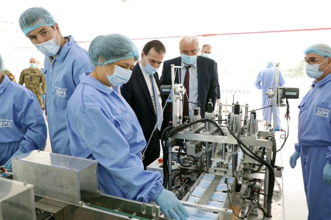 Vizita premierului Orban și a ministrului Economiei la fabrica din Dragomirești unde au fost montate instalațiile de producție măști medicale / Foto: Guvern