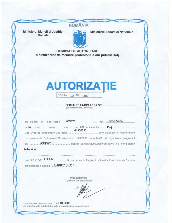 Autorizatie Agenția Bebeti