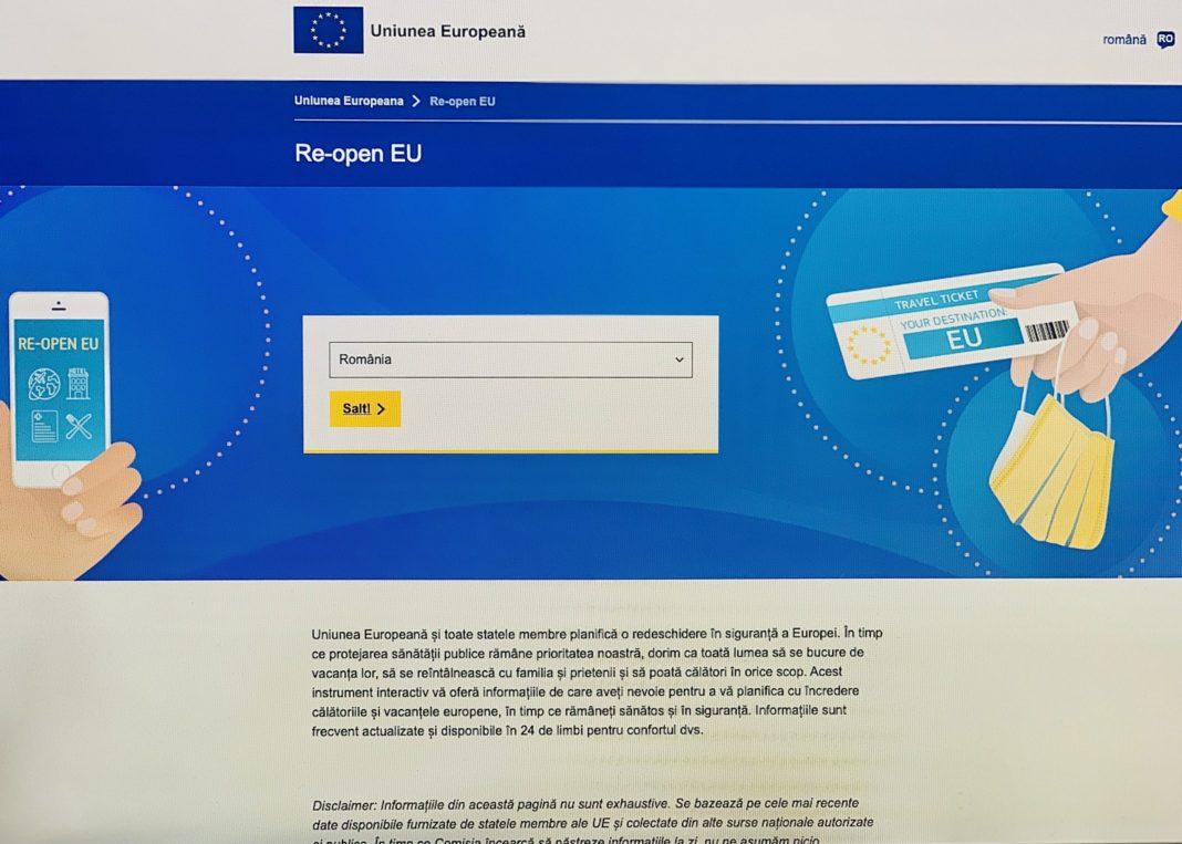 """Platformă web intitulată """"Re-open EU"""", dedicată sprijinirii reluării în siguranță a călătoriilor și a turismului în întreaga Europă"""