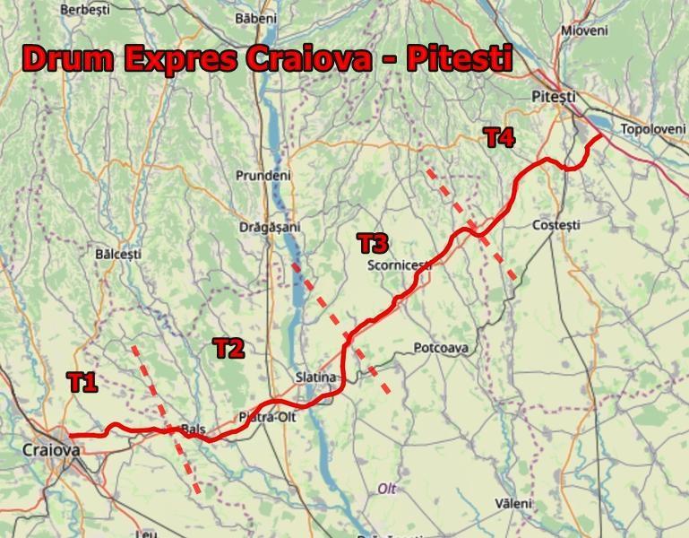 Harta Interactivă: Drumul expres Craiova - Pitești: UMB câștigă contractul și pentru execuția Tronsonului 4