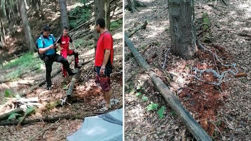 Un tănăr din Dolj s-a legat cu un lanț de un copac , dar nu s-a mai putut dezlega. A fost găsit după 3 zile. Sursă foro Observator
