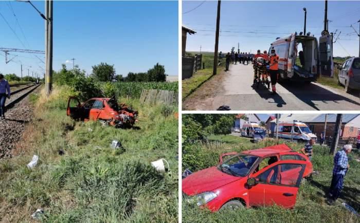 Trei morţi şi doi răniţi după ce maşina în care se aflau a fost lovită de un tren