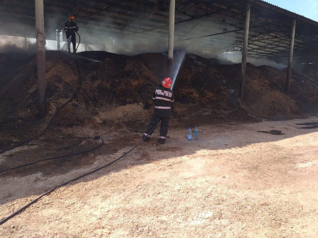 Pompierii mehedințeni au fost solicitați să intervină la un depozit de rumeguș