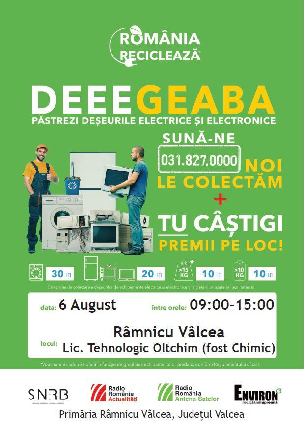 """Râmnicu Vâlcea participă în campania """"România Reciclează"""" - pe 6 august 2020, locuitorii din Râmnicu Vâlcea reciclează"""