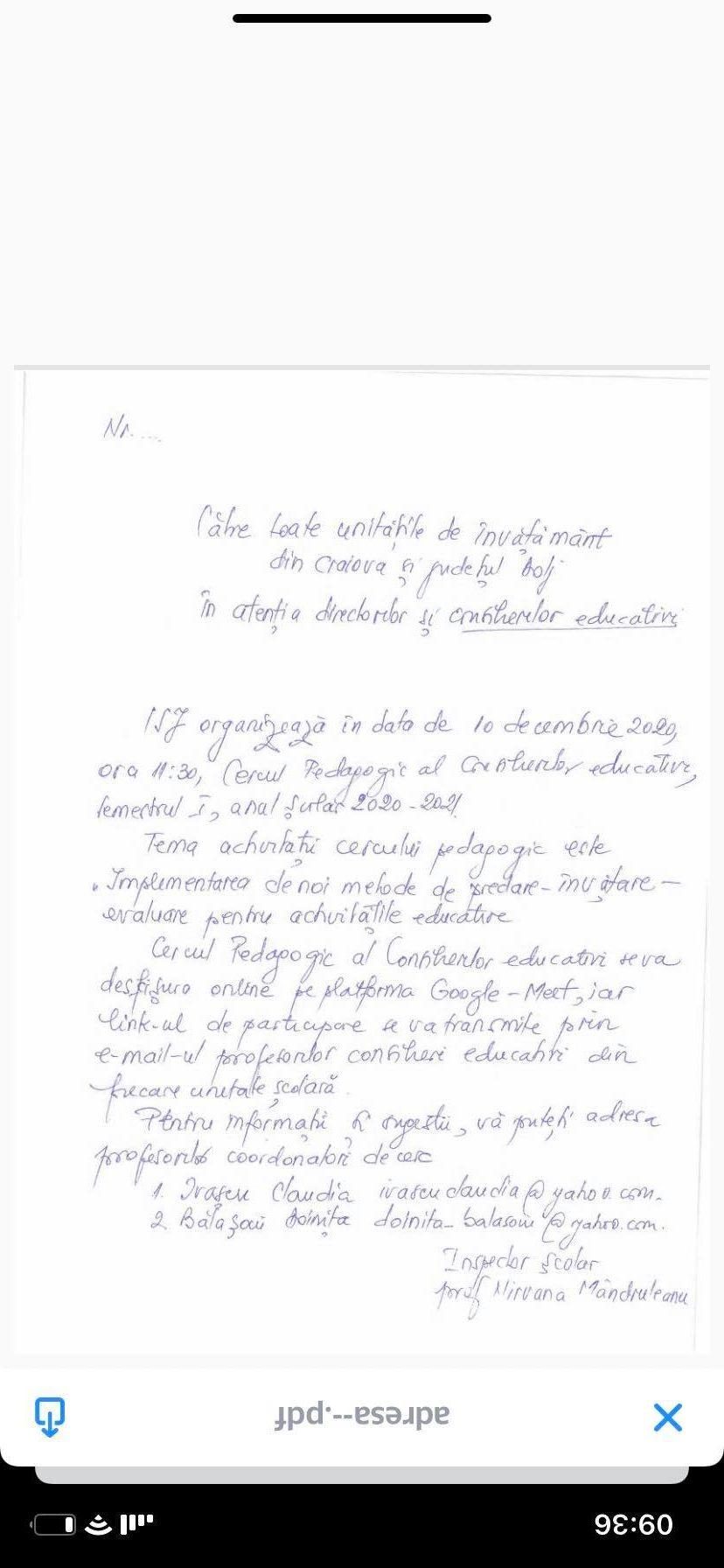 Digitalizarea din Dolj: Directorii au primit de la ISJ o notă telefonică scrisă cu pixul