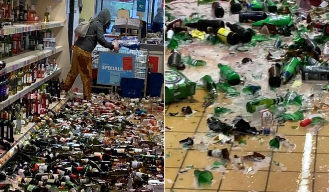 O femeie furioasă a spart 500 de sticle de alcool, păgubind un magazin cu 100.000 de dolari