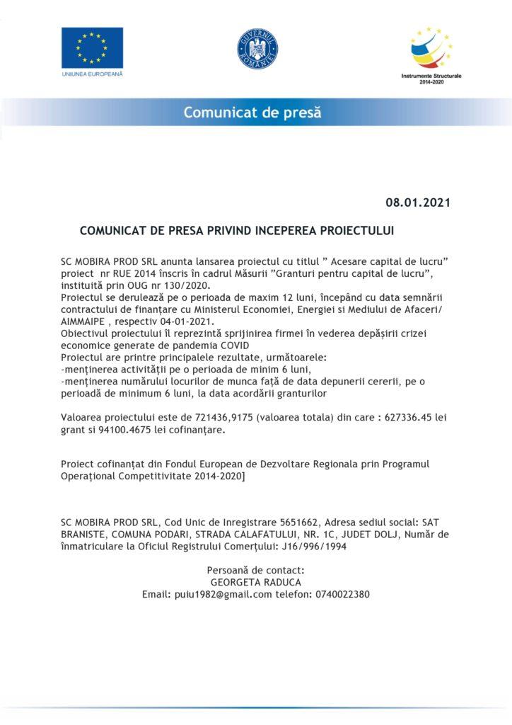 ANUNȚ ÎNCEPERE PROIECT – GRANTURI PENTRU CAPITAL DE LUCRU ACORDATE IMM-URILOR