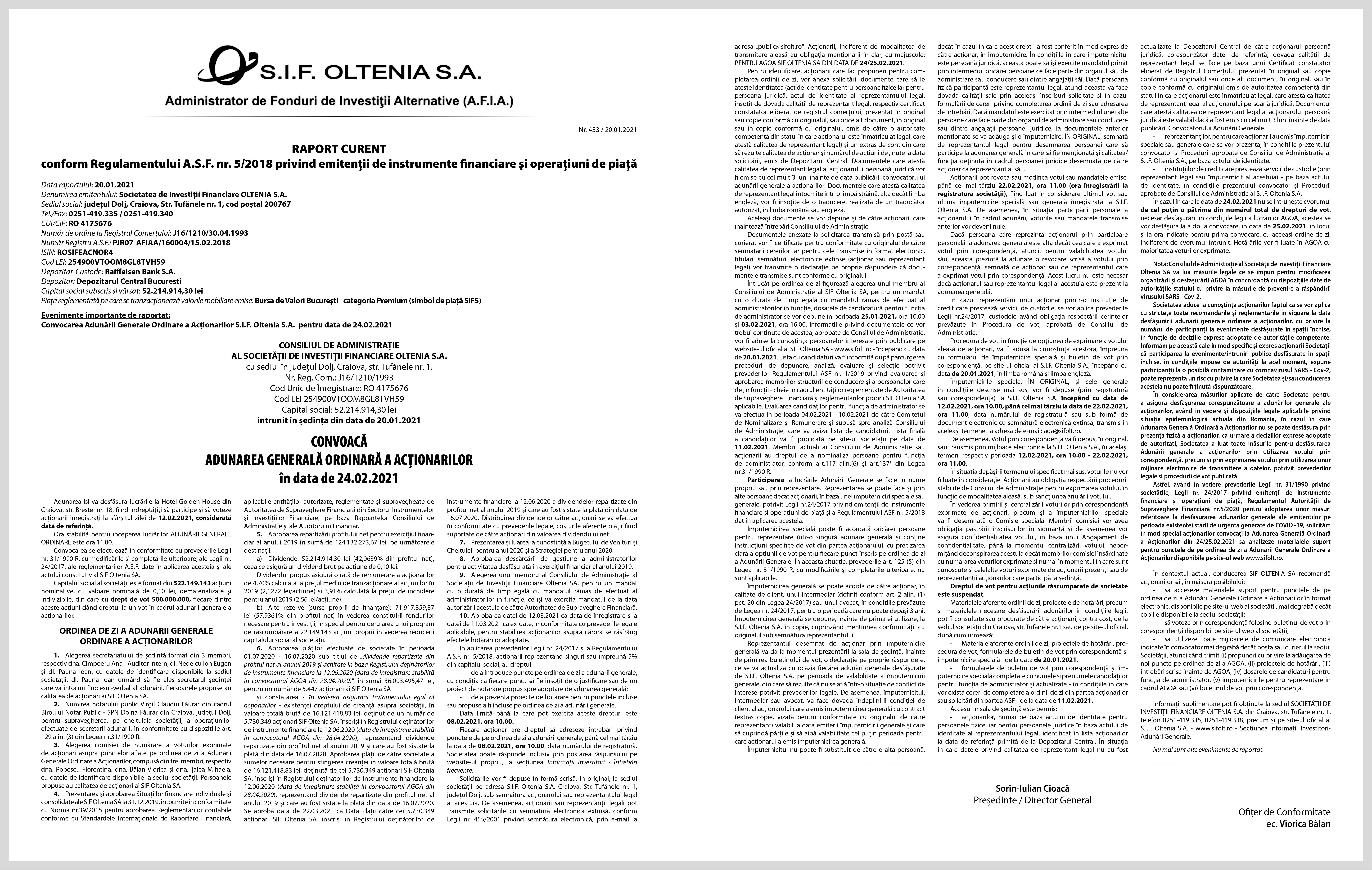 RAPORT CURENT conform Regulamentului A.S.F. nr. 5/2018 privind emitenţii de instrumente financiare şi operaţiuni de piață