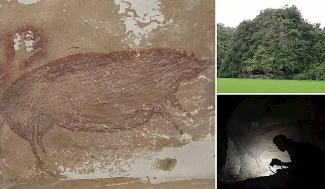 Cea mai veche pictură rupestră, având cel puţin 45.500 de ani, a fost descoperită într-o peşteră din Indonezia