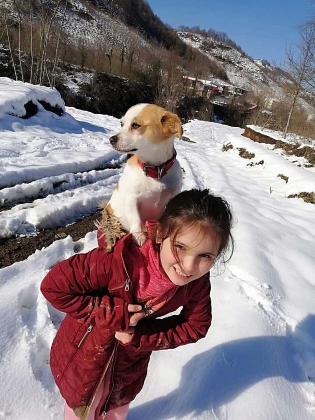 O fetiță de 9 ani din Turcia și-a cărat câinele bolnav pe spate doi kilometri, în zăpadă