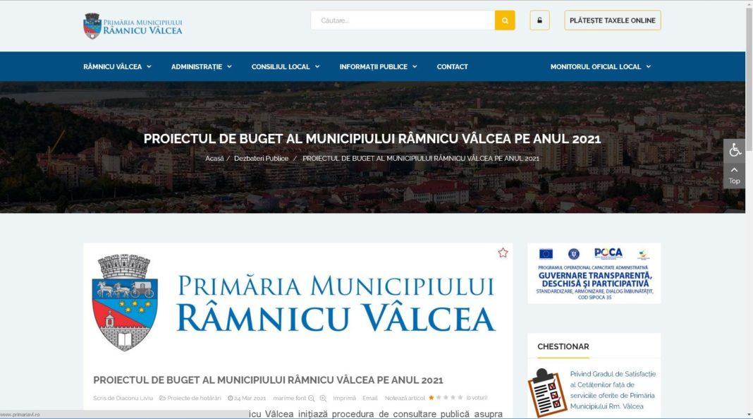 Primăria Municipiului Râmnicu Vâlcea a pus în dezbatere publică proiectul de buget local pe anul în curs