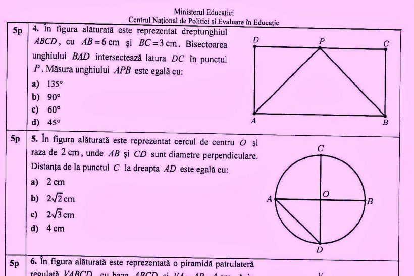 Ce subiecte au picat la examenul de matematică (sursa foto edupedu.ro)