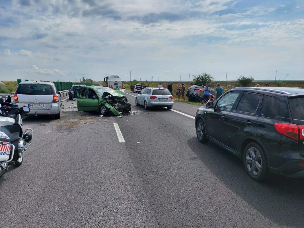 Încă o tamponare în lanț pe Autostrada Soarelui, cu trei mașini implicate