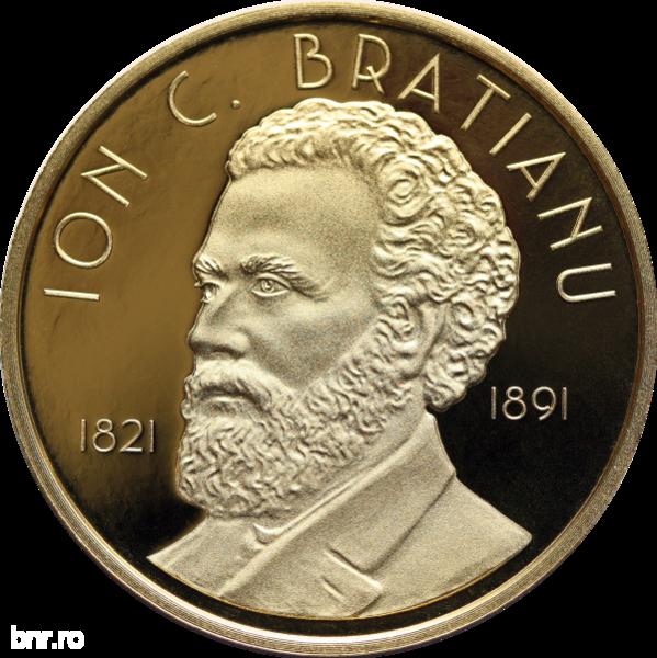Monedă din aur cu tema 200 de ani de la naşterea lui Ion C. Brătianu, lansată de BNR